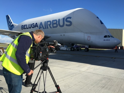Filming on location at Airbus
